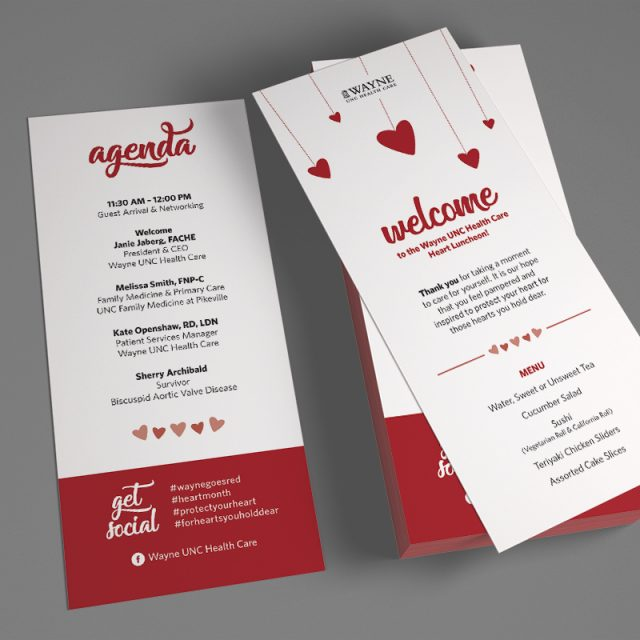 Matters of the Heart Luncheon - Agenda Rack Card