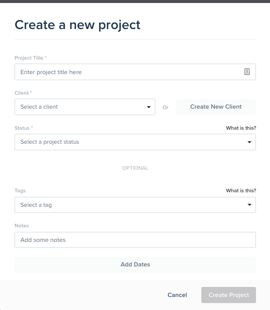 Create a new project in Dubsado